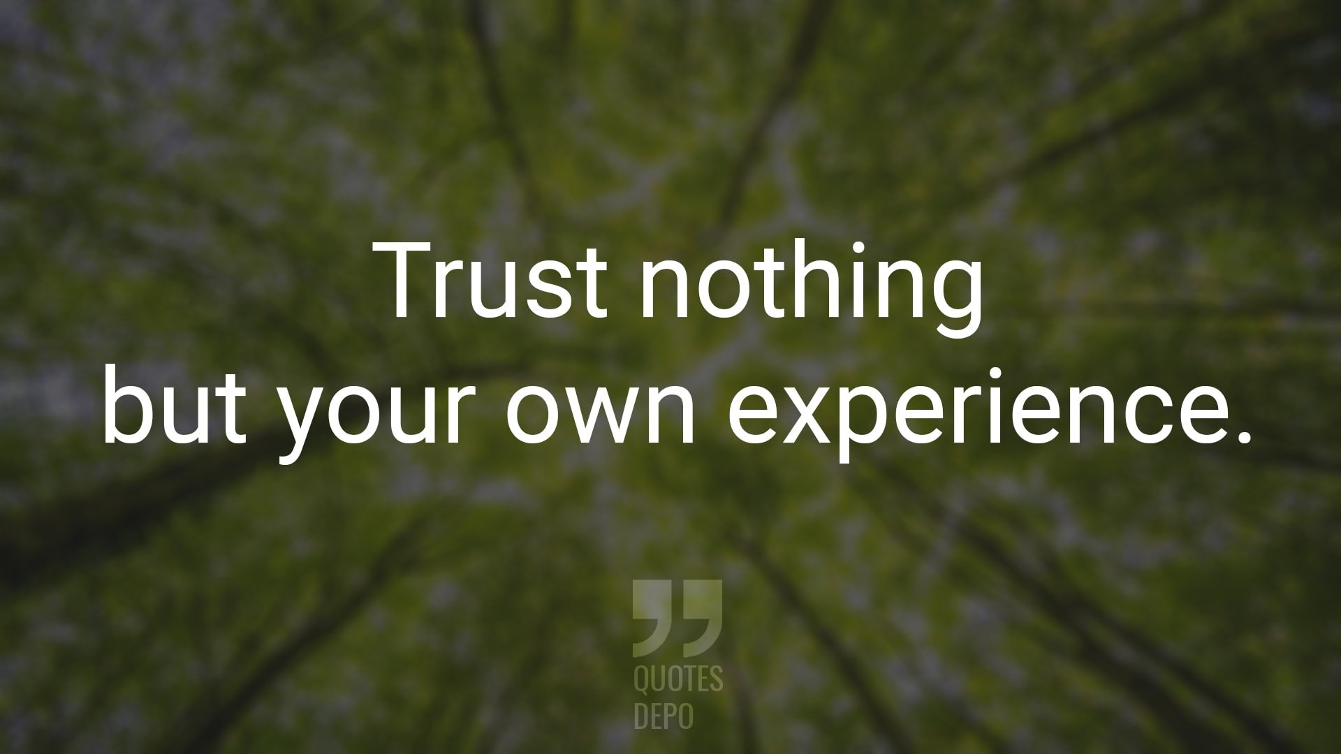 Trust Nothing but Your Own Experience