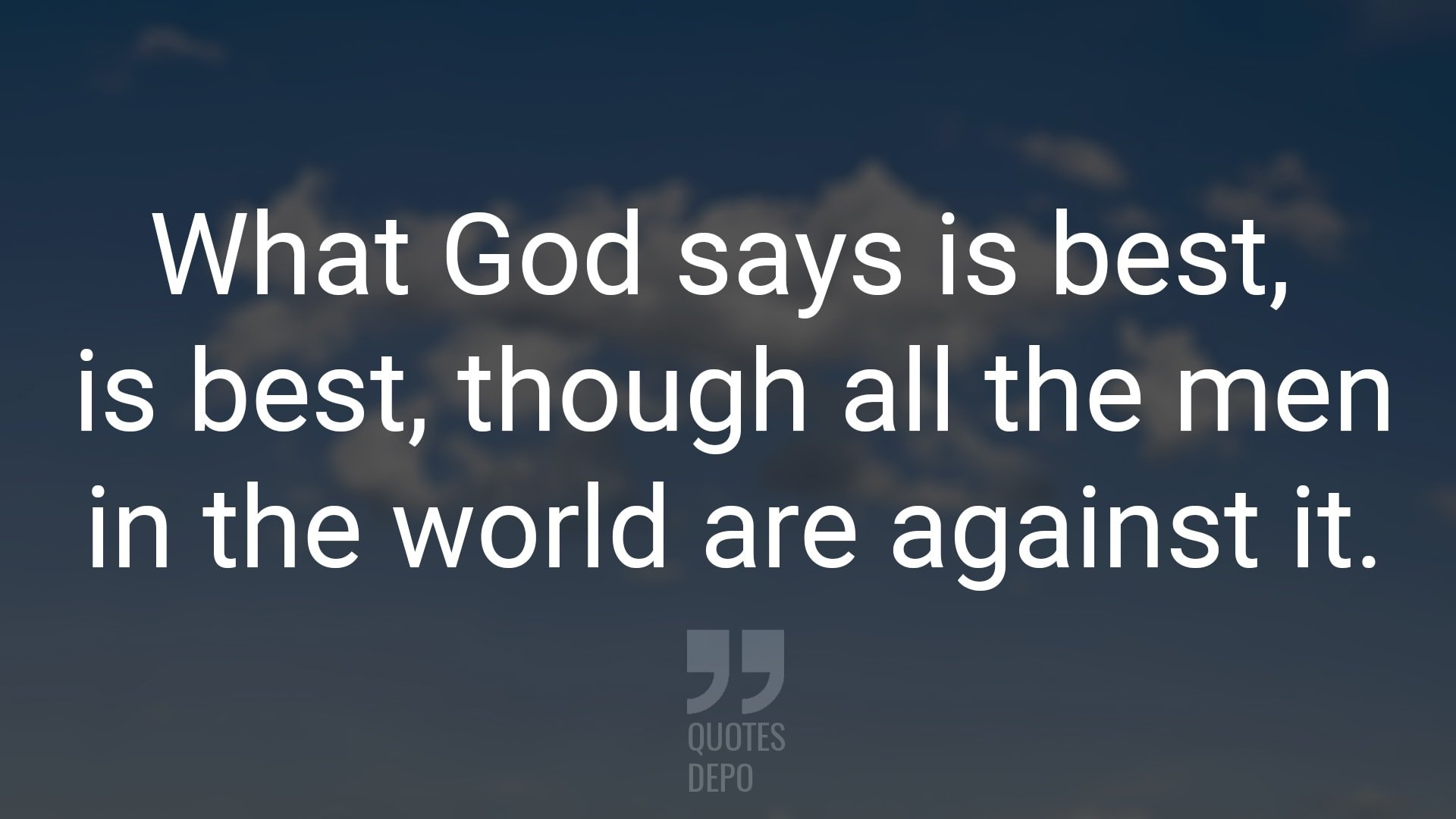 what god says is best